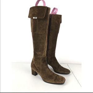 YSL Yves Saint Laurent Suede Brown Knee Heel Boots